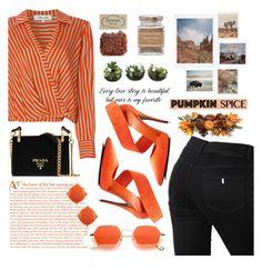 """Monochrome: Pumpkin Spice"" by lutsenkush ❤ liked on Polyvore featuring Diane Von Furstenberg, STELLA McCARTNEY, Prada, Oily Blends, Forever 21, DENY Designs and Allstate Floral"
