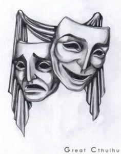 Drama masks tattoo design, curtain call