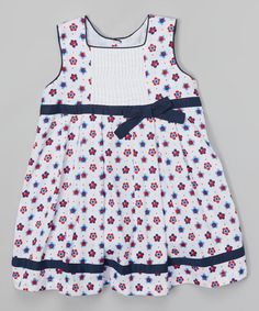 Another great find on #zulily! Navy & White Floral Babydoll Dress - Toddler & Girls by Lil Cactus #zulilyfinds