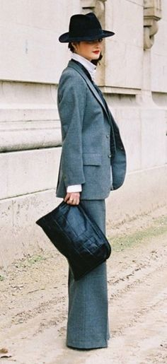 Seventies style mens tailoring looks uber glam teemed with red lips and high heels. Retro Inspired Streetstyle