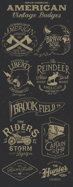 AMERICAN VINTAGE BADGES PART 3 Create your own badge or logo with a vintage touch. Ready to print or use in anything you want. – Infinitely scalable. – Full editable (text, colors, etc.) – Very organized in layers.