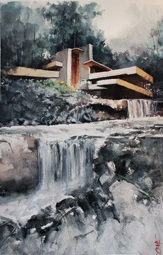 Architecture Concept Drawings, Architecture Design, Falling Water House, Falling Waters, Falling Water Architecture, Water Sketch, Waterfall House, 3d Art Drawing, Building Drawing
