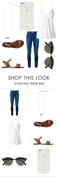"""Untitled #158"" by becker17 ❤ liked on Polyvore featuring Frame Denim, Kendra Scott, Dondup, Steve Madden, Ray-Ban and Kate Spade"