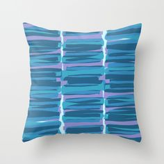 Hand Painted and Digital Blue Stripes Pattern Print Throw Pillow - Sarah Bagshaw