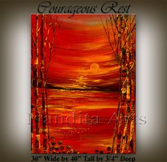 XXL Original Large ABSTRACT PAINTING Landscape by artgallerys, $599.00  -  trees, orange, gold, landscape, etsy.   lj