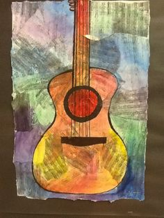 This would be great with contour line drawing and watercolor using instruments from the band rooms across the hall. Jazz Music, Jazz Art, Jazz Guitar, Guitar Art, Kandinsky Art, Middle School Art Projects, Music Collage, 6th Grade Art, Ecole Art