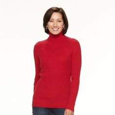 Women's Croft & Barrow® Cable-Knit Turtleneck Sweater, Size: Large, Med Red