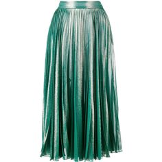 Gucci pleated metallic skirt (35.500 CZK) ❤ liked on Polyvore featuring skirts, gucci, bottoms, green, metallic pleated skirt, green a line skirt, high-waisted skirt, green midi skirt and knee length a line skirt
