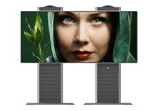 Frei stehende Struktur für modulare LCD-Videowände wird erweitert im Portrait Modus