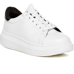 Steve Madden Prestoo Platform Sneaker (€47) ❤ liked on Polyvore featuring shoes, sneakers, white, white lace up sneakers, steve-madden shoes, white trainers, white shoes and platform shoes