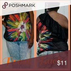 One sleeve Blouse Great wit almost any bottom It's has Beautiful colors  100% polyester (Been worn) Tops Blouses