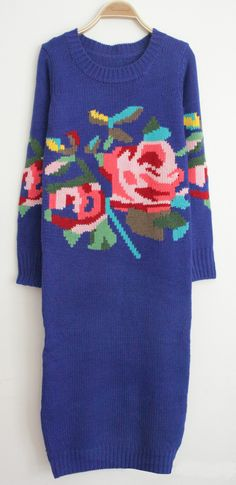 Royal Blue Long Sleeve Rose Pattern Sweater Dress