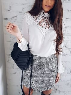 White Lace Insert Hollow Out Long Sleeves Chiffon Blouse Cute Blouses For Work, Blouses For Women, Blouse Styles, Blouse Designs, Bluse Outfit, Blouse Vintage, Lace Sleeves, White Lace, Lace Insert