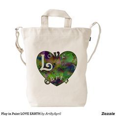 Play in Paint LOVE EARTH Duck Canvas Bag