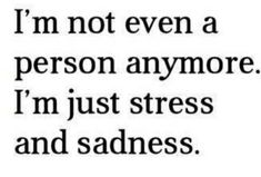 I'm not even a person anymore. I'm just stress and sadness.