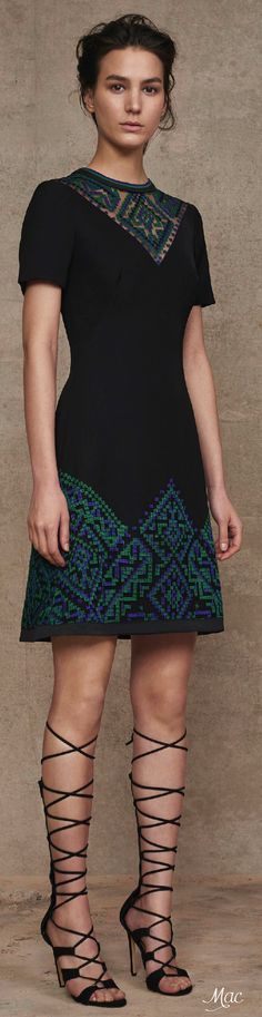 Pre-Fall 2016 Tadashi Shoji love the colors and cut and pattern, and the see-through at the top