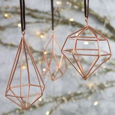 Set of Three Geometric Copper Hanging Decorations