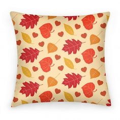 Autumn Leaves and Hearts Pattern: This pillow is for all the people who get crazy excited as soon as the weather turns from 80 degrees to 60 degrees because that means the trees will be changing color! Cuddle up with a loved one with this homey design and the Fall is for Lovers pillow or blanket design. #autumnleavesdecor #autumnpillow #fallleavespillow #fallleavespatterns #fallpatterns #autumnleavespatterns #fallleavespattern #fallleavesdecor #heartleaves #fallheartleaves #falldecor
