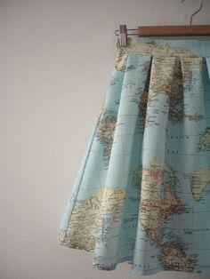 Welt Karte einteilig, Karte gedruckt, hohe Taille Rock, Atlas Druck, Baumwolle Rock, kundenspezifisch konfektioniert - Welt Karte einteilig Karte gedruckt hohe Taille Rock von CruelCandy
