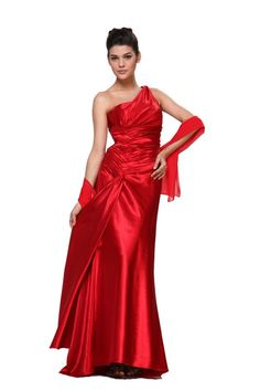 One Shoulder Formal Gown Prom Dress Full Length Long Bridesmaids - The Dress Outlet - 1
