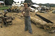 Bill Lord cutting a puriri log, Waiheke Island. New Zealand Landscape, Waiheke Island, Landscape Structure, Documentary Photographers, Artistic Photography, Documentaries, Robin, Coast, Lens