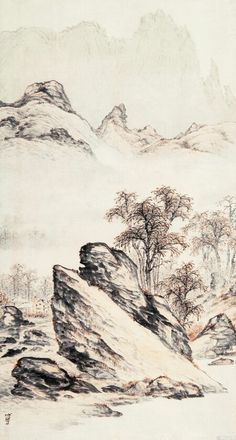 google.co.kr Chinese Landscape Painting, Landscape Sketch, Landscape Drawings, Japanese Painting, Chinese Painting, Chinese Art, Landscape Art, Landscape Paintings, Japanese Art Prints