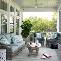 Cozy on the screen porch, ---  blue beadboard ceiling, (piazza blue)