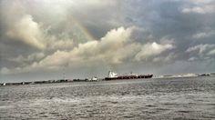#NaturePhotography #Rainbow #Ship #Lagos Eko Atlantic, Lagos, Nigeria.