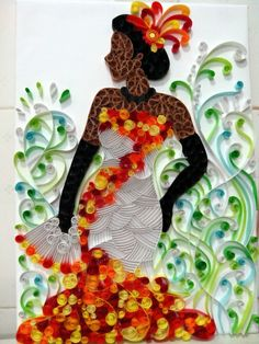 """Quilling Cafe: I had no idea what """"quilling"""" was so I looked it up. It's """"Quilling or paper filigree is an art form that involves the use of strips of paper that are rolled, shaped, and glued together to create decorative designs."""" The image is very cool. I'd easily hang this on my wall."""