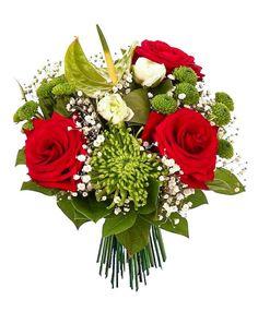 Magnifique bouquet aux tons pastels et aux roses rouges et au feuillage de saison... le tout à PETIT PRIX !