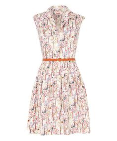 Look at this White Spring Tree Belted Shirt Dress on #zulily today!