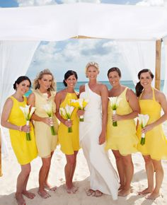 Yellow Bridesmaid Dresses // Photo: Jane Z  Photography // Feature: TheKnot.com