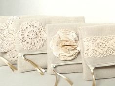 Bridal purse burlap and lace wedding,bridesmaids gifts, rustic natural wedding,fabric flower. $20.00, via Etsy.
