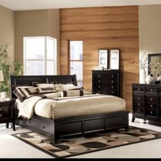 Bedroom furniture like closet,  chest, bed headrest, chairs and sofa