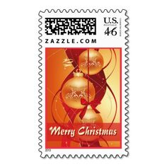 """Seasonal Golden Christmas Decorations Postage. Unique, trendy, chic and stylish Christmas holiday greetings mail stamps. With cute and fun image of orange and gold colored bauble ornaments hanging in tree, and """"Merry Christmas"""" text. Original, elegant and classy stamps to personalize your December winter season wishes with."""