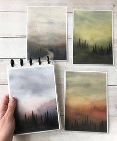 check out 👉🏼 ❤️ ⠀⠀⠀⠀⠀⠀⠀⠀ ⠀⠀⠀⠀⠀⠀⠀⠀ ⠀⠀⠀⠀⠀⠀⠀⠀ artist — Watercolor Landscape, Landscape Paintings, Watercolor Paintings, Oil Paintings, Watercolor Sketchbook, Watercolor Illustration, Guache, Painting Inspiration, Painting & Drawing
