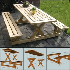 Gather With Your Family and Have a Picnic Right in Your Backyard by Making This Picnic Table