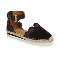 Women's See By Chloe Glyn Espadrille Sandal (€195) ❤ liked on Polyvore featuring shoes, sandals, nero, platform espadrille sandals, embroidered shoes, platform espadrilles shoes, vintage footwear and platform shoes
