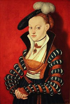 Lucas Cranach the Elder - German Renaissance - Christine von Eulenau 1534 Mode Renaissance, Renaissance Fashion, Renaissance Clothing, Historical Clothing, 1500s Fashion, Jan Van Eyck, Hieronymus Bosch, German Style, 16th Century Fashion