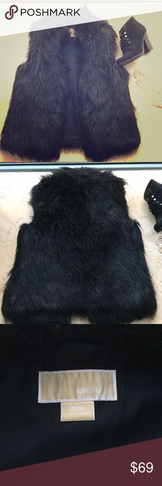 Michael Kors Black Faux Fur Vest MK Black Faux Fur Vest. Pair with long sweater, leggings, and booties! Super cute but I need a bigger size. Size small. Available December 17th (currently traveling)! MICHAEL Michael Kors Jackets & Coats Vests