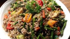 """Buckwheat, which happens to be gluten-free, despite the word """"wheat"""" in its name, is accompanied by colorful veggies and simple yet flavorful… Grilled Vegetables, Veggies, Buckwheat Salad, Fried Rice, Spring Time, Vegan Vegetarian, Fries, Cooking, Ethnic Recipes"""