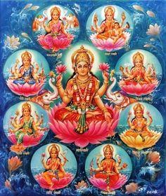 Hindu Cosmos - Ashta Lakshmmi (via Dictionnaire de Sahaja Yoga) Lakshmi Photos, Lakshmi Images, Durga Images, Lord Ganesha Paintings, Lord Shiva Painting, Saraswati Painting, Divine Mother, Mother Goddess, Saraswati Goddess