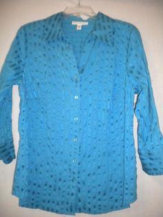 JM Collection Plus Size 14W Aqua 3/4 Sleeve Button Front Women Blouse Top Shirt #JMCollection #ButtonDownShirt #Versatile