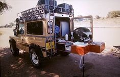 Defender with pull out kitchen. Clever. Even has the kitchen sink. WEH