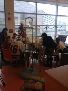 Hershey Bears players and coaches stopped by the Penn State Hershey Children's Hospital on December 16, 2014 to hand out gifts and do arts & crafts.