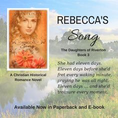Looking for something that will transport you to the past and also bring you a little romance?  Set in 1905, Rebecca's Song is Book 3 in The Daughters of Riverton series, but it can also be read as a stand-alone. Discussion questions included.