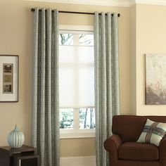 Layer your windows for extra insulation and style! Blinds.com Easy Drapes in Donetta Cascade with top-down/bottom-up cellular shades.