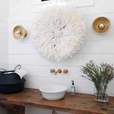 White Juju Hat Over Powder Room Sink