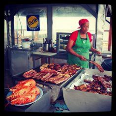 Street Grilling vendors is common in St. Maarten.