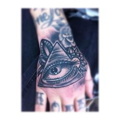 Grey Ink Illuminati Eye Tattoo On Right Hand